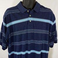 KnightsBridge Mens Golf Polo Shirt Vintage Blue Stripe Size Large