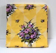 Coupon de tissu coton jaune vintage 1950 Toile des Flandres, modèle Paradou