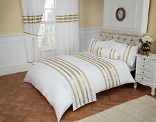 100% EGYPTIAN COTTON WHITE & GOLD RIBBON TRIM DOUBLE BED LUXURY DUVET COVER SET