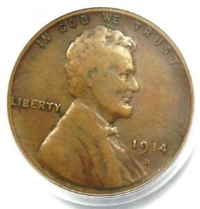 1914-D Lincoln Wheat Cent 1C - Certified PCGS F12 - Rare Key Date Penny!
