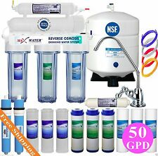 5 Stage 50GPD Reverse Osmosis System with 13 Max Water USA Filters (2 membranes)