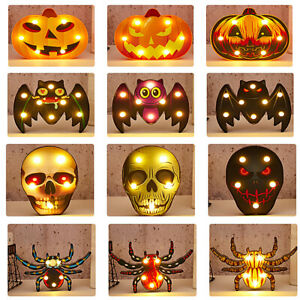 Halloween LED Night Light Up Pumpkin Spider Home Party Decorations Props Lamps