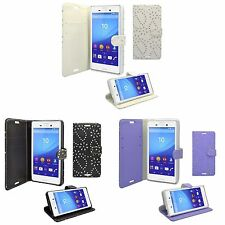 CASE FOR SONY XPERIA M4 GLITTER IN VARIOUS COLOURS PU LEATHER WALLET COVER