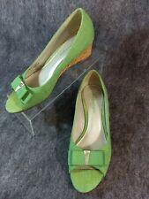 f5fddf663d Etienne Aigner Green Peep Toe Cork Wedge Sandal Womens Sz 7.5 Bow Low Heel  Linen