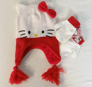 Hello Kitty by Sanrio White Knit Laplander Hat & Mittens Set Toddler Size 3 & Up