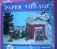Firehouse Christmas Scene Paper Village Craft Kit #425 Twisted Paper Fire House