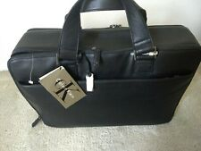 Calvin Klein Laptop Case- Black Leather with handle and strap New
