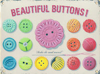 New 30x40cm BEAUTIFUL BUTTONS vintage enamel style tin metal advertising sign