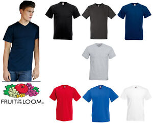 Fruit of the Loom Valueweight v-neck tee All Sizes Basic Plain Shirt S M L XL