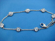 """1.45 CT """"DIAMONDS BY THE YARD"""" 7 STATIONS 14K 2-TONE GOLD BRACELET 7 INCHES"""