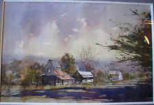 Herman Pekel's Australian  original watercolour titled 'Afternoon Storm'.