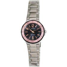 Casio LTP1367D-1A2 Ladies Black Dial Metallic Stainless Steel Dress Watch Pink