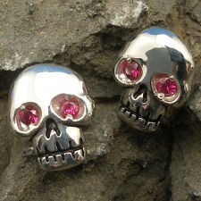 Human Skull Earrings, natural RUBY eyes, hand crafted sterling silver, no glass