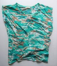 Bobbie Brooks Women's Plus 1X Knit Blouse Green Brown Camo Open Back With Ties