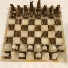"Marble/Onyx/Quartz Stone Aztec Artisan Carved FULL CHESS SET with 13.5"" Board"