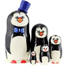 New 7'' Tall Hand Painted Russian Nesting Doll Penguin 5 Pc Set Made In Russia