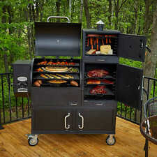 BBQ Smoker Grill Wood Pellet 8-in-1 Multi-chamber Smoking Cabinets Patio Cooker