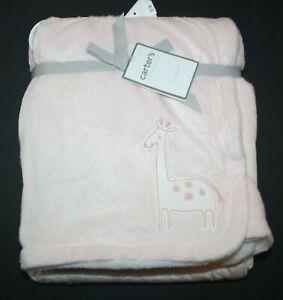 "New Carter's Baby Girls Soft Fleece Blanket Giraffe Light Pink Plush 40"" x 30"""