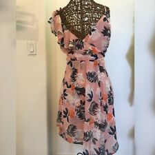 NEW A NEW DAY WOMEN FAUX WRAP DRESS PINK WITH FLORAL PRINT TANK