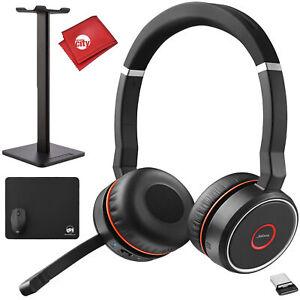 Jabra Evolve 75 UC Stereo Wireless Bluetooth Headset Music Headphones Bundle