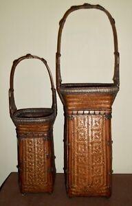 TWO Japanese Ikebana Baskets of Handwoven Bamboo