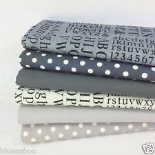 Shades of Grey Alphabet spots blender fat quarter fabric bundle 100% cotton