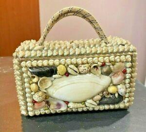 1800s Sailors Valentine Victorian Child's Shell Art Seashell Handbag Purse  RARE