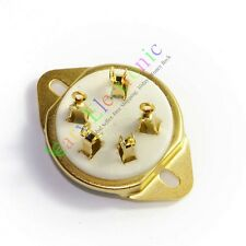 10pc 5pin Gold Ceramic Tube Sockets for 807 5-21 US style audio amps diy guitar