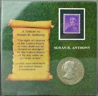 1979-S Susan B Anthony Dollar DCAM Proof~Tribute Slab with Stamp & Stand~GEM BU~