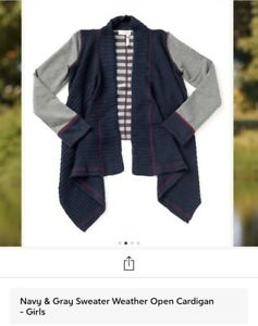 Matilda Jane Navy Blue Gray Maroon Stripe Open Cardigan Sweater Girls Size 14