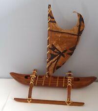 Vintage 1969 Hawaiian Outrigger Canoe Complete with box Anekona Hawaii