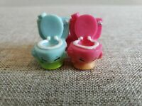 Shopkins FLUSHES Toilet 4-045 4-050 Season 4 Set of Pink and Blue Lot Petkins