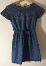 Girl's Next Denim Blue dotty amazing skater cotton dress aged 9 years (A27)