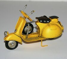 Metal Art Tin Model - SCOOTER Motorbike (Yellow) Ornament (17cm)