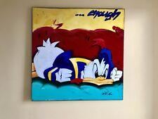 "Ölbild Donald Duck ""..enough"" Jörg Döring Frühwerk Pop-Art 1995 120x120cm UNIKAT"