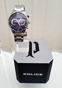 Genuine POLICE Designer Mens Watch BLUE Dial Day & Date RRP£250 NEW Boxed