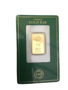 10g Royal Mint Gold Bullion Bar In Assay Card