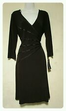 Sz 12P Connected Petite Black Dress Accented with Slimming Ribbon & A Rhinestone
