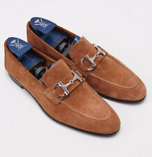 New $900 SUTOR MANTELLASSI Camel Brown Velour Suede Bit Loafer US 7 D Shoes