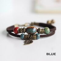 Boho Vintage Double Layer Rope Leather Leaf Beads Bracelet Set Women Men Jewelry