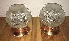 Set of 2 VTG Antique Ceiling Lamp Light Hobnail Glass Globes & Copper Fixtures