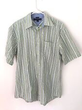 Tommy Hilfiger men's green white blue  short sleeve collard dress shirt medium