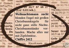"""Postkarte """"Weihnachtsmann sucht blonden Engel mit großen Christbaumkugeln ...."""""""
