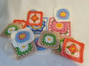INDIVIDUAL HAND CROCHETED GRANNY SQUARES OR HEXAGONS VARIOUS PATTERNS & COLOURS