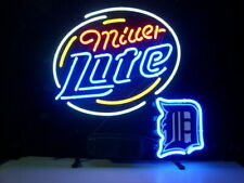 "Detroit Tigers Miller Lite Neon Sign 20""x16"" Beer Light Lamp Bar Display Glass"