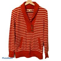 Banana Republic Women's Long Sleeve Pullover Sweatshirt,Striped, Orange, Small