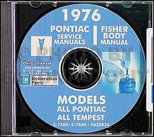 1976 Pontiac CD Shop Manual and Body Repair Trans Am Firebird LeMans Sunbird