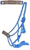 Showman Woven BLUE Nylon Mule Tape Halter w/ Painted Aztec Leather Noseband! NEW