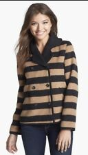 Tulle Anthropologie NWT Striped Coat Black Camel Large Double Breasted Wool NEW