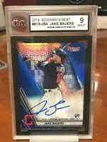 2019 Bowman's Best Jake Bauers Auto Rookie Card #B19JBA - KSA Graded 9 Mint